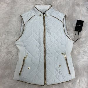 White Quilted Suede Contrast Vest